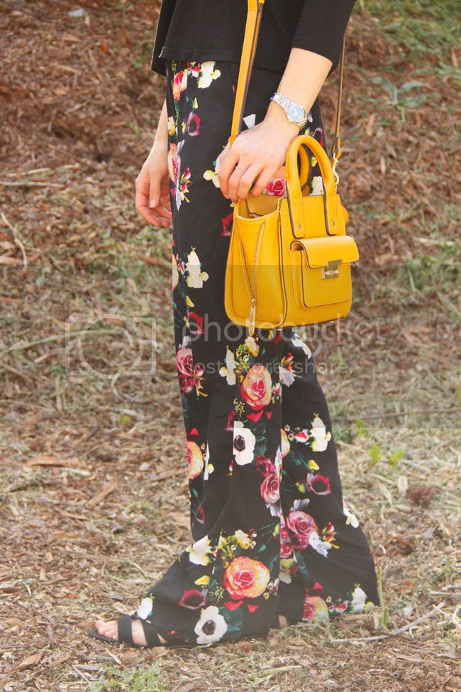 Merona floral pants, Phillip Lim for Target mini satchel, Sam & Libby Arianna gladiator sandals