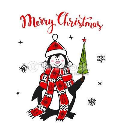 Pingüino De Cute Dibujos Animados De Feliz Navidad Con La