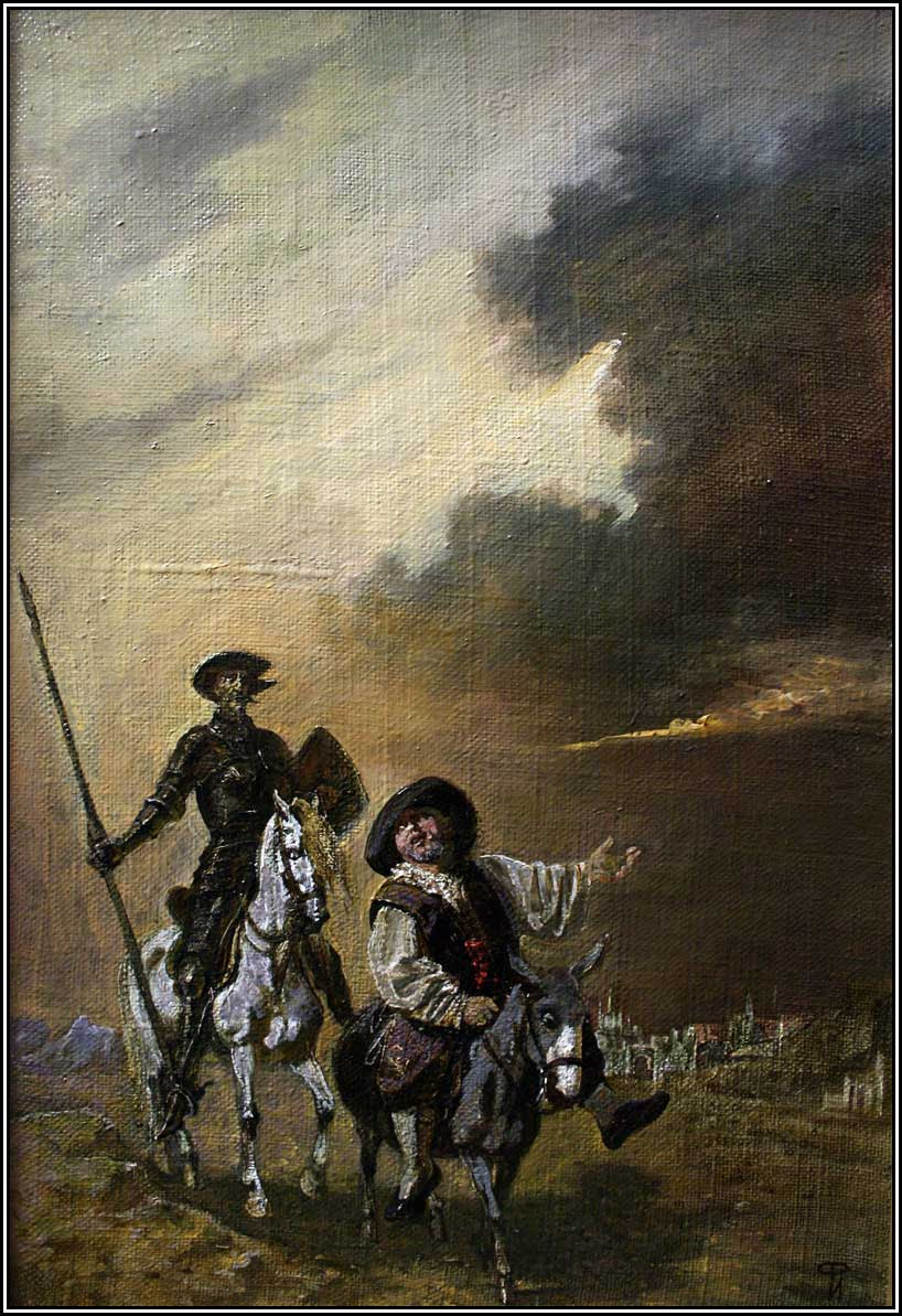 Don Quixote and Sancho Pansa   oil on canvas   43 x 65 cm   1999