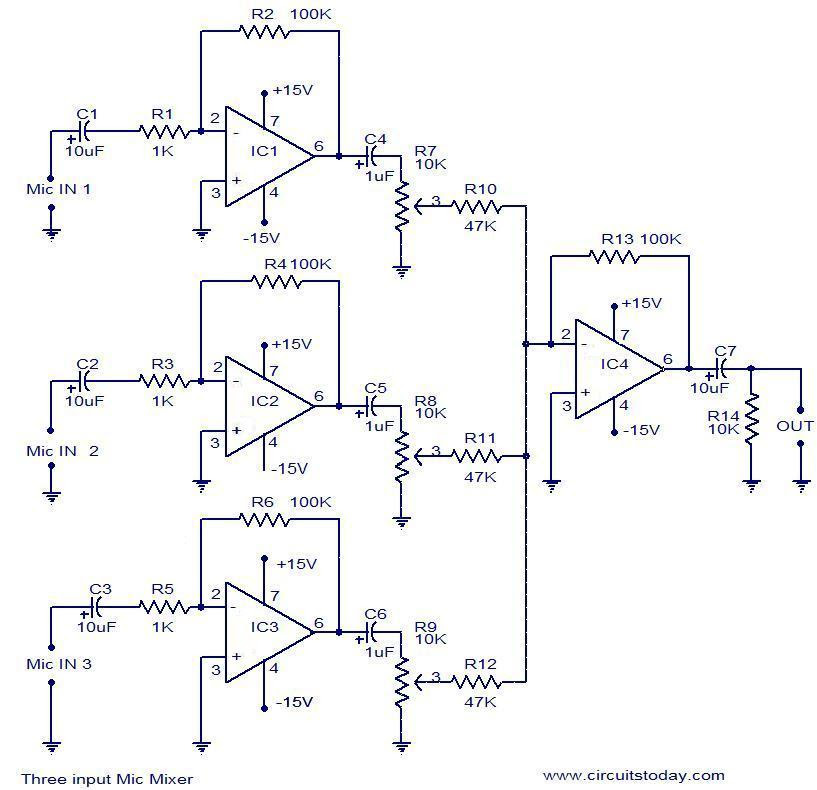 Mic Mixer With Echo Schematic Diagram - Circuit Diagram Images