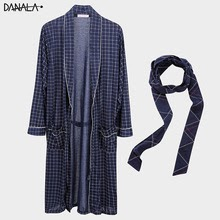 Spring Autumn  Men's Bathrobe Warm  Dressing-gown