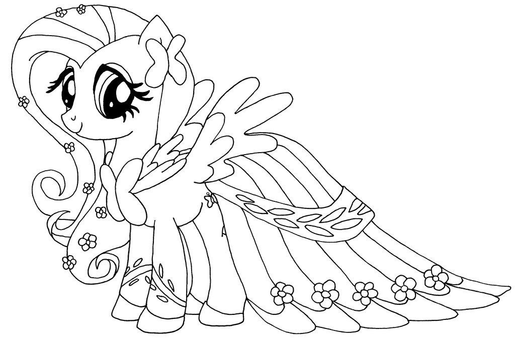 Fluttershy Coloring Pages 1024x681