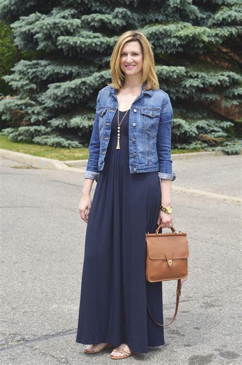 How to Dress Down Denim Jacket with Maxi Dress ? Designers