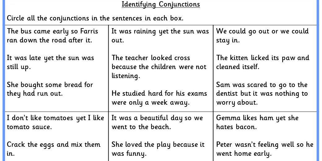 Identifying Conjunctions SPAG KS2 Easy