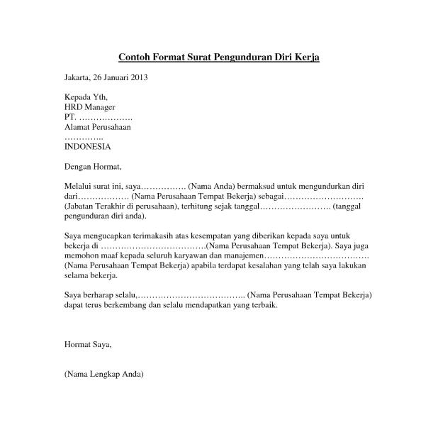 Contoh Surat Pengunduran Diri Apoteker Dari Apotek Surat