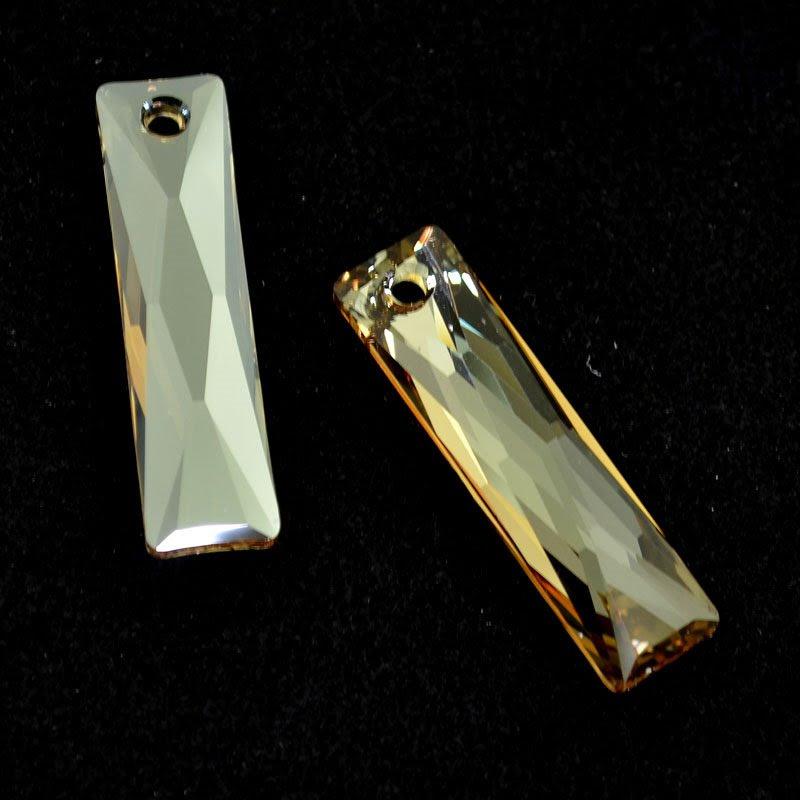 34764653801001 Swarovski Crystal Pendant - 10 x 38 mm Queen Baguette (6465) - Crystal Golden Shadow (1)