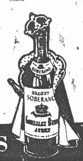 Publicidad del brandy Soberano (periódico Nueva España), 1956