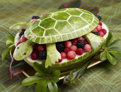 watermelon turtle with fresh fruit