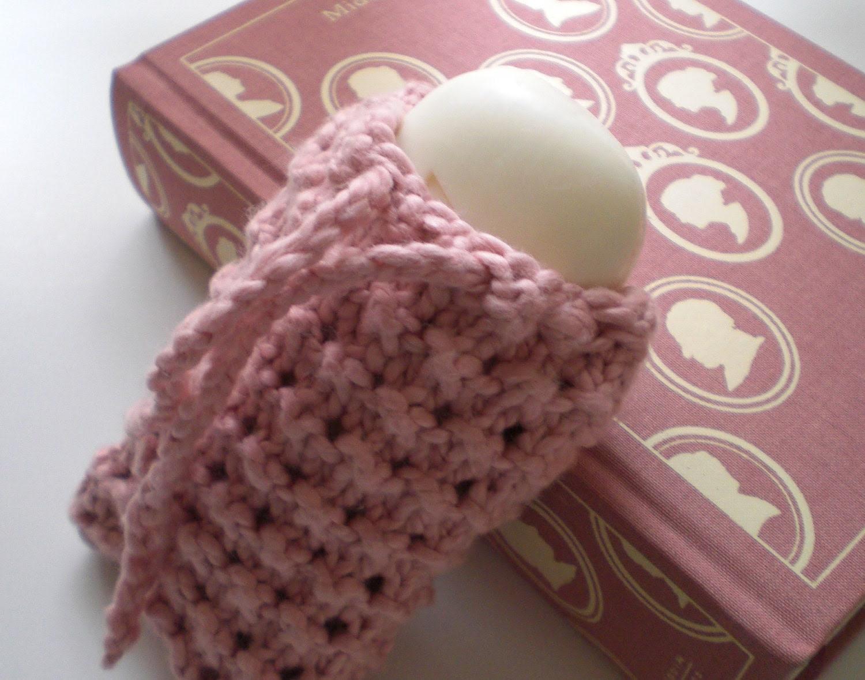 Pink Organic Cotton Soap Sack - LaceyDaisyKnits
