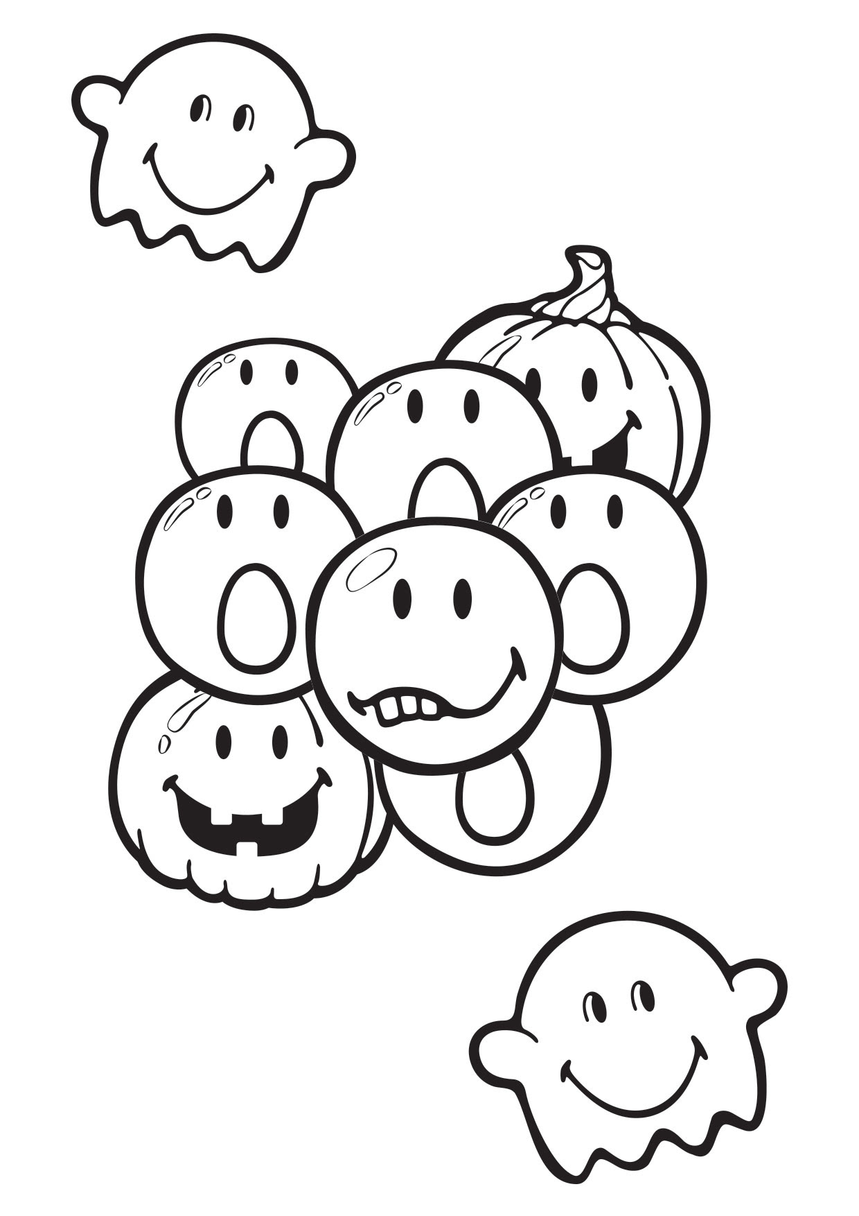 Coloriage Smiley Halloween à Imprimer