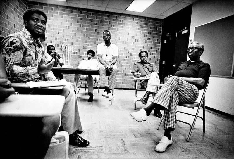 Description of  AUG 6 1975 - (From left) Romie Lilly, Lew Gaither, Wellington Webb, Warren Alexander, Bill Roberts and James Reynolds. Black leaders ask Safeway to maintain store in a first-class manner at all times. (John J. Sunderland/The Denver Post)
