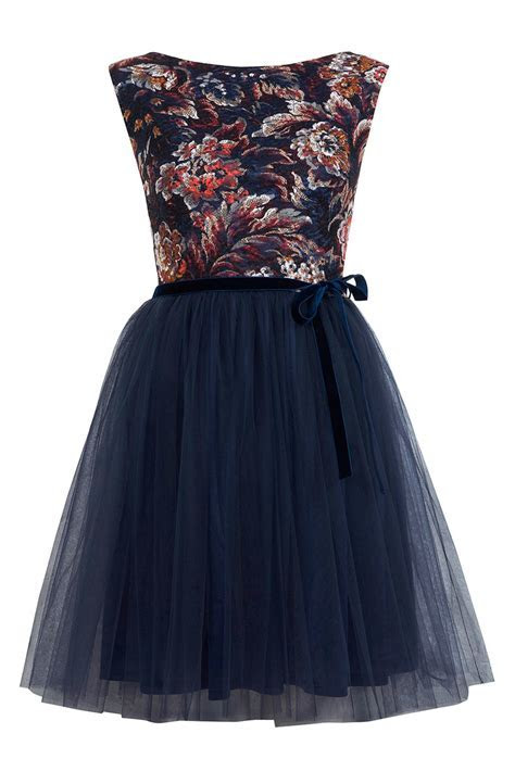 Winter Wedding Guest Outfits   Warehouse Navy Lace Dress
