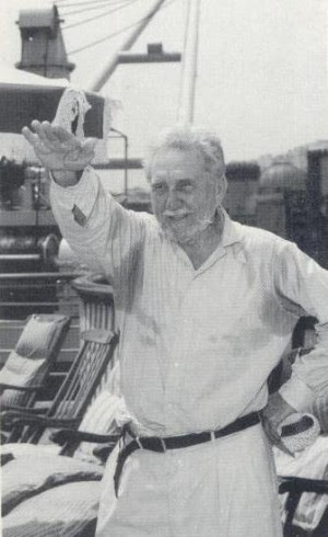 """Ezra Pound, back in Italy and still defiant after 13 years of false imprisonment by the US government: """"All America is an insane asylum."""""""