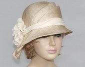 Sophia, Kentucky Derby hat, beautiful parasisal straw hat, womens summer millinery hat, color natural straw