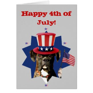 Happy 4th of July boxer dog greeting card