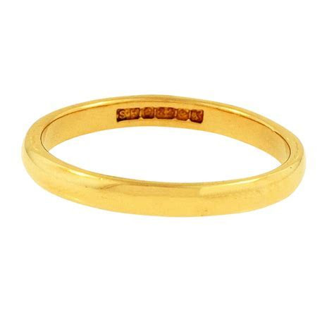 22carat Yellow Gold D Shape Wedding Band (Size N) 2mm Wide