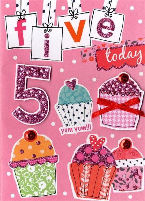Girls 5th Birthday Card Five Today   Cards