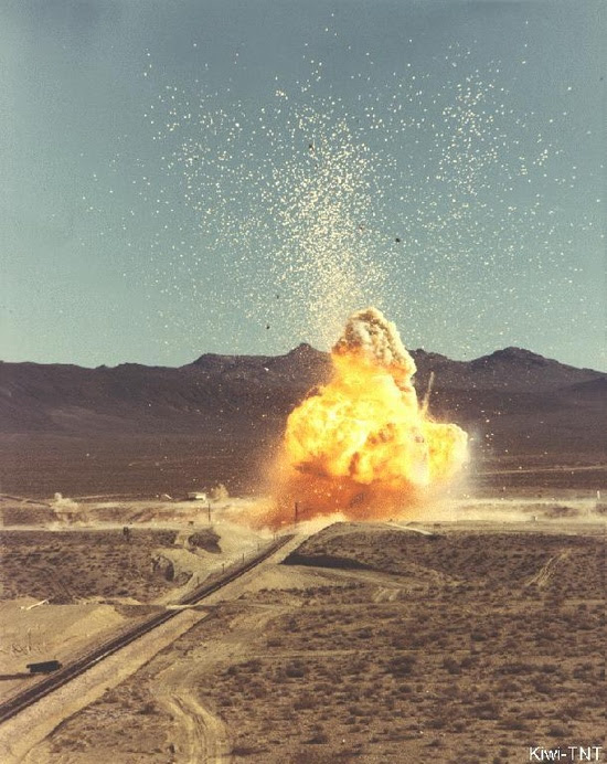 """Kiwi TNT  KIWI was an experimental nuclear-powered rocket engine. In this case """"TNT"""" stands for """"Transient Nuclear Test."""" This safety experiment was a deliberate burn-up of the reactor by a run-away chain reaction. The release of energy caused portions of the reactor to vaporize and the reactor to destroy itself."""