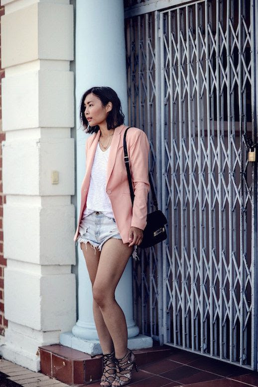 Le Fashion Blog Blogger Style Pink Blazer White Shirt Denim Shorts Sandals Via Beige Renegade