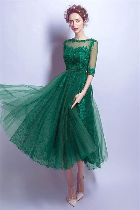tea length green lace prom dress  juniors