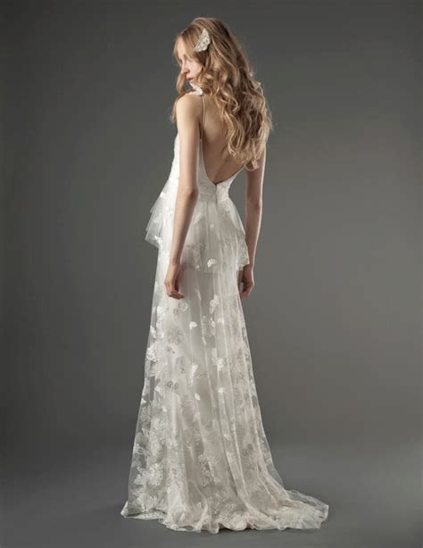 Romantic low back wedding dress with unique lace   OneWed.com