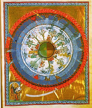 Medieval depiction of a spherical earth with d...