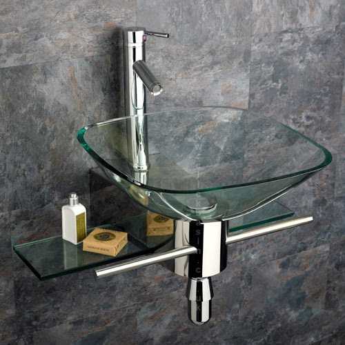 Padova Square Clear Glass Wall Mounted Basin, Stainless Mount and ...