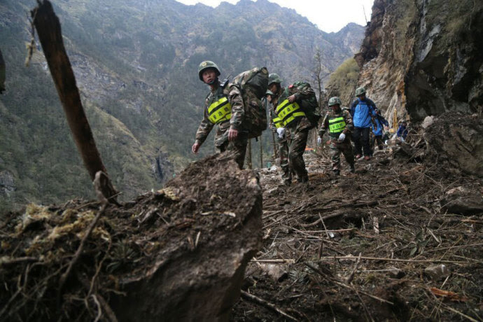 Chinese rescue workers near Zhangmu, in Tibet.