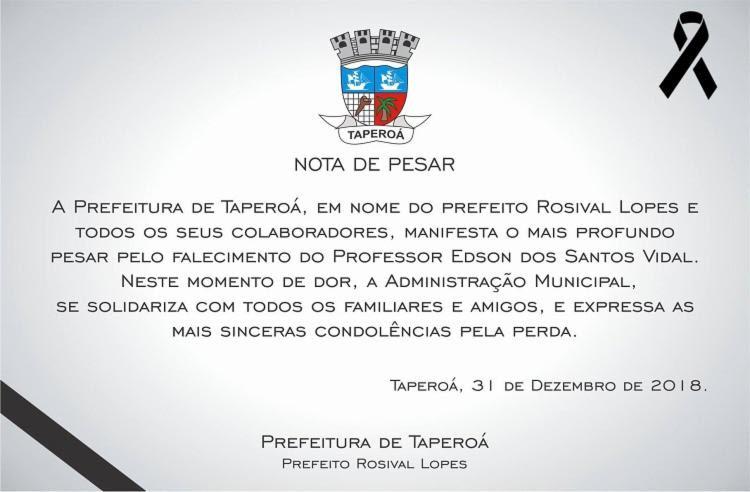 A Prefeitura de Taperoá emitiu nota na última segunda-feira,31, suspendendo atividades festivas de réveillon.