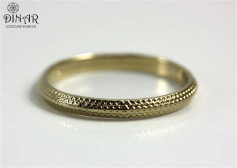 2.5 mm Vintage Thin Wedding band 18k white Gold , Art Deco