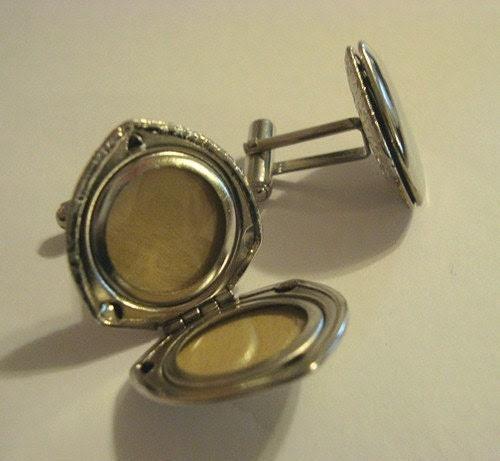 Photo Cufflinks Silver Locket - vintage