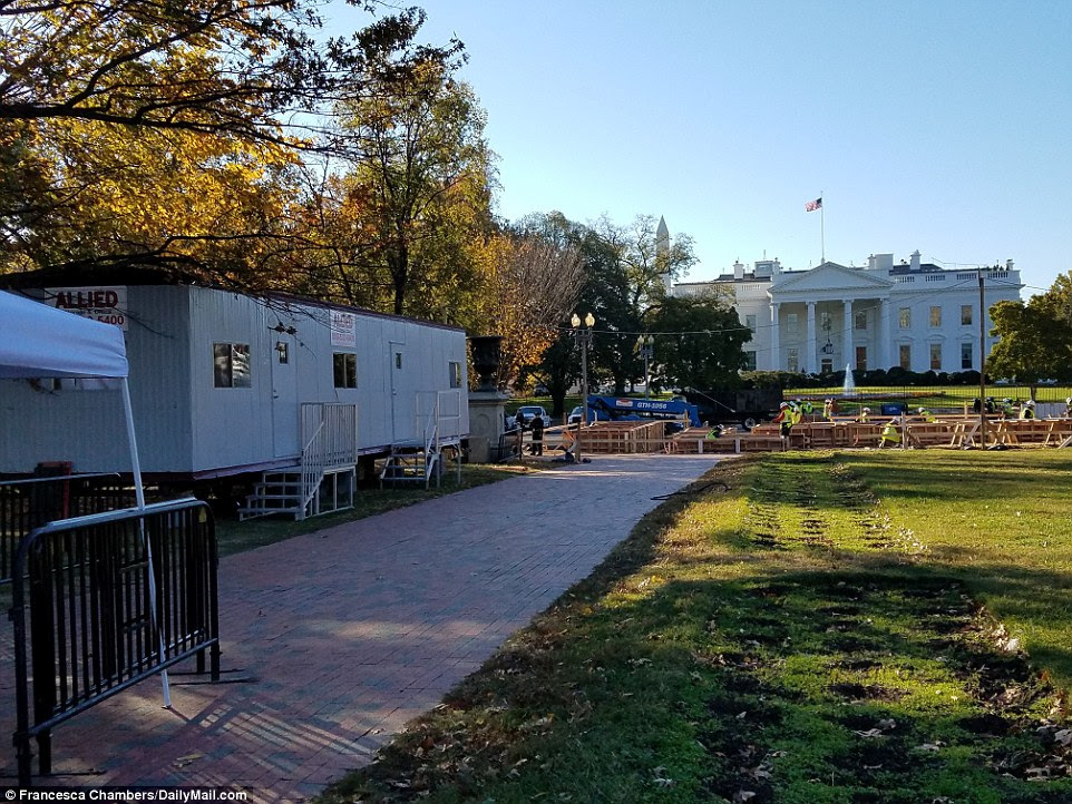 On his way: The massive effort to get ready for President Trump is not just inside the West Wing and Oval Office - it is outside in the public areas around the White House