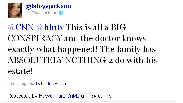 Screenshot of a La Toya Jackson (@latoyajackson) tweet during trial of Michael Jackson's doctor, Conrad Murray, on Tuesday, Sept. 27, 2011.