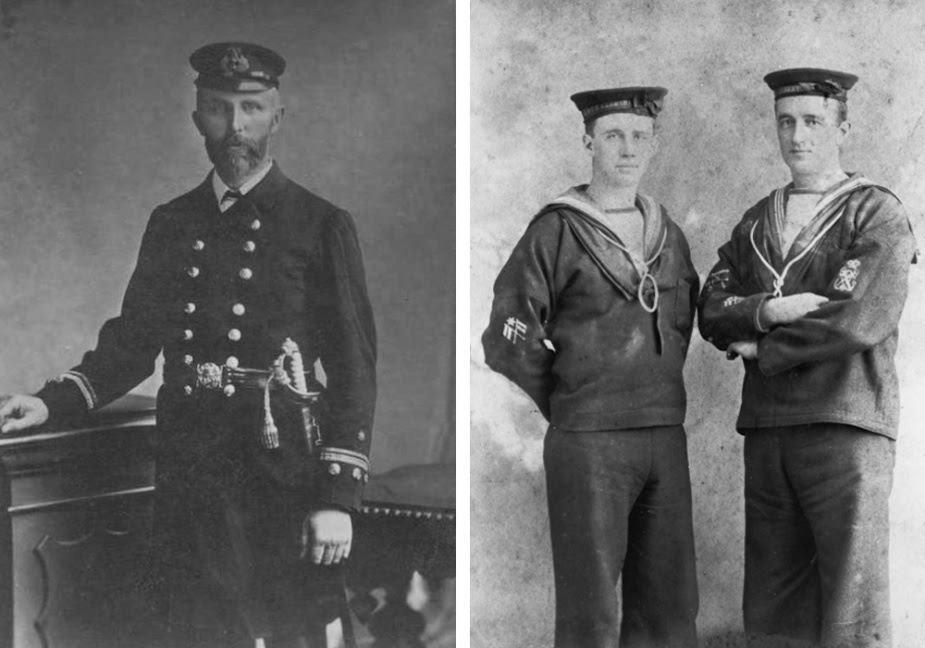 Left: Engineer Lieutenant W A Forsyth c. 1899 Right: Signalman Andrew Currer of Richmond, Victoria posing with a petty officer of Cerberus crew
