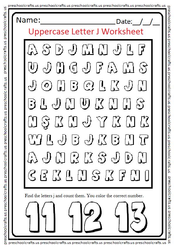Uppercase Letter J Worksheets Free Printable Preschool