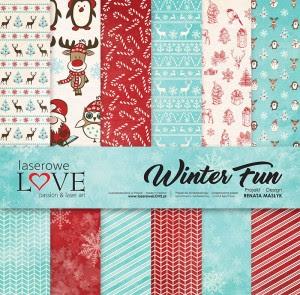 Zestaw papierów 30x30 cm - Winter Fun - Laserowe LOVE