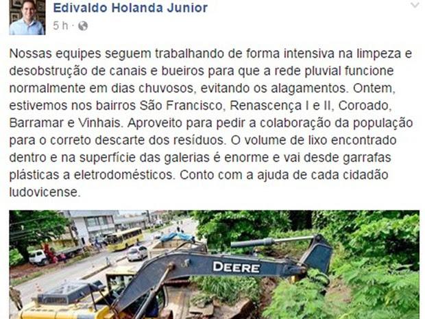 Prefeito de São Luís disse que alagamentos foram causados pelo descarte irregular de lixo (Foto: Reprodução/Facebook)
