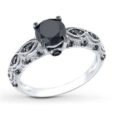 Black Diamond Ring 1 1/4 Carats tw 10K White Gold