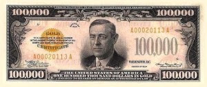 President Woodrow Wilson appeared on the $100,000 bill. They were not publicly issued, and were used only for intra-government transactions. They were printed in orange on the reverse, and are illegal to own. All known pieces are in government museums.