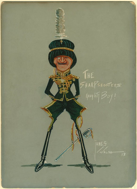drawing of cartoon character soldier in green uniform, monocle & feathered hat