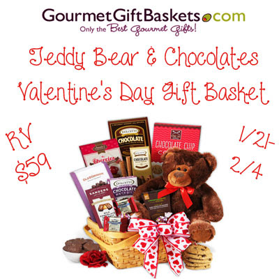 Teddy Bear & Chocolates Valentine's Day Gift Basket Giveaway. Ends 2/4