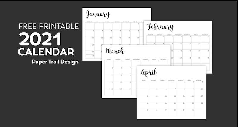 2021 Calendar Printable Free Template Paper Trail Design
