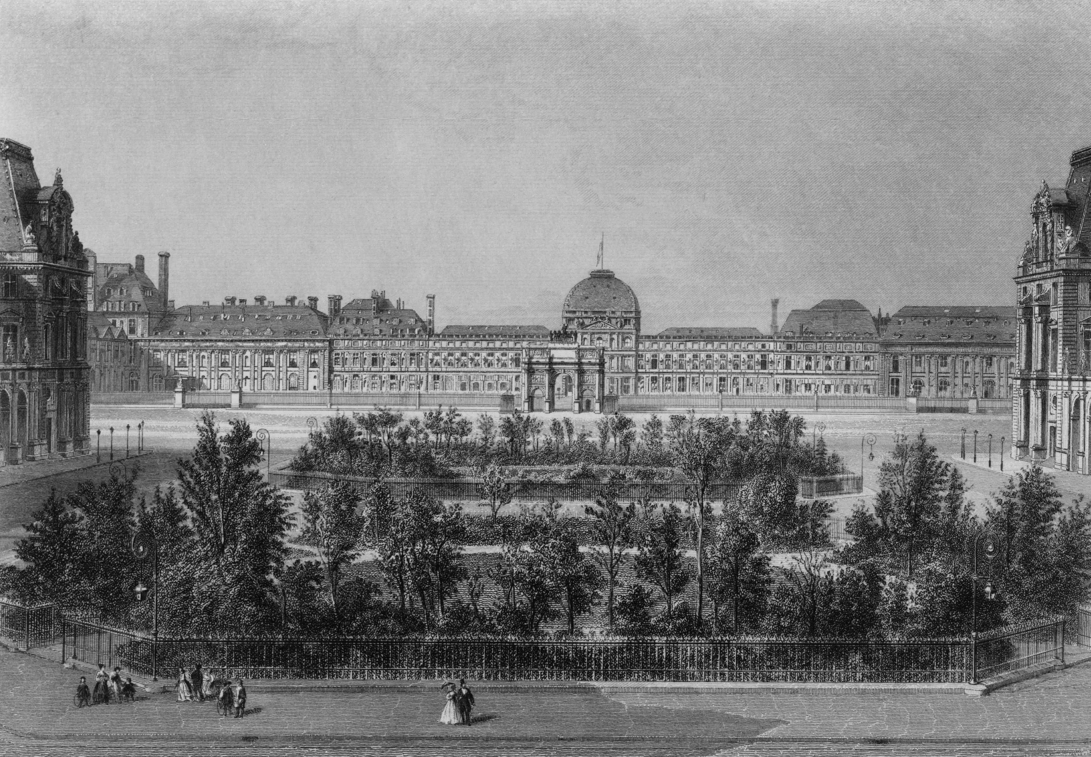Tuileries Palace in Paris, France, old engraving