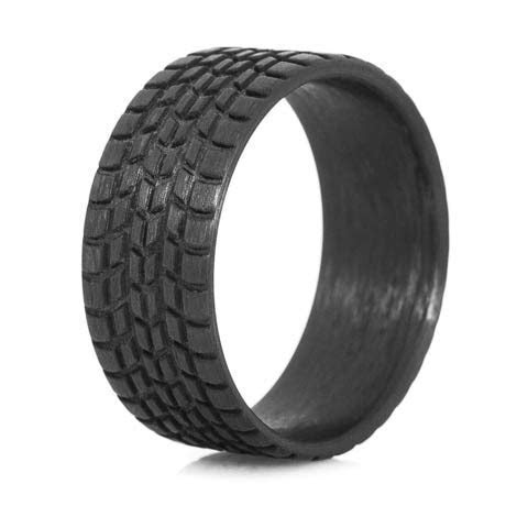 Men's Carbon Fiber Sport Tread Ring   Titanium Buzz