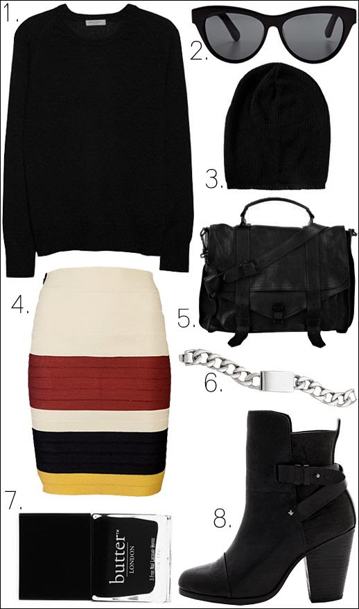LE FASHION OUTFIT COLLAGE Equipment Sloane Cashmere Sweater Elizabeth and James Charlton Sunglasses ASOS Lightweight Oversized Knitted Beanie Boy by Band of Outsiders Suspender Tape Skirt Proenza Schouler PS1 Large Leather Satchel Nicholas ID Bracelet Butter London Nail Polish in Union Jack Black Rag Bone Kinsey Boots