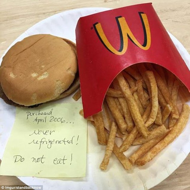 The McDonald's burger and fries which has been left on a plate for 10 years. Reddit user standbacknow posted a photo of the food and said someone he knew had bought in April 2006. The food has no visible mould and simply looks dry and hard