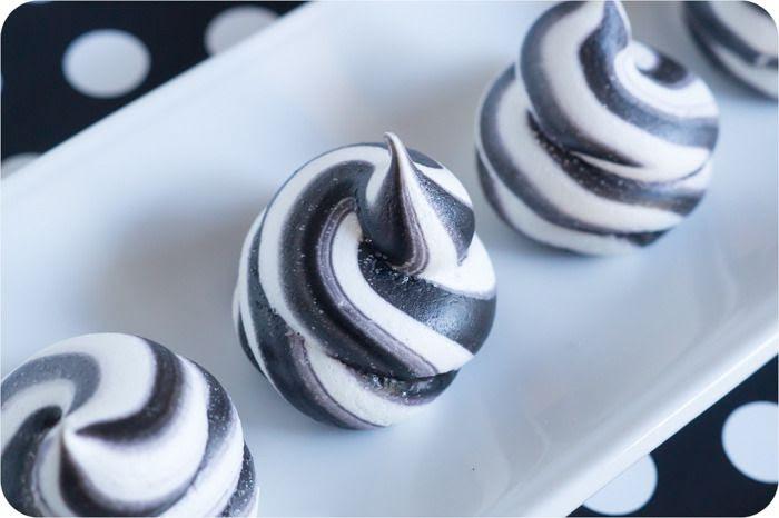 spooky swirled meringues
