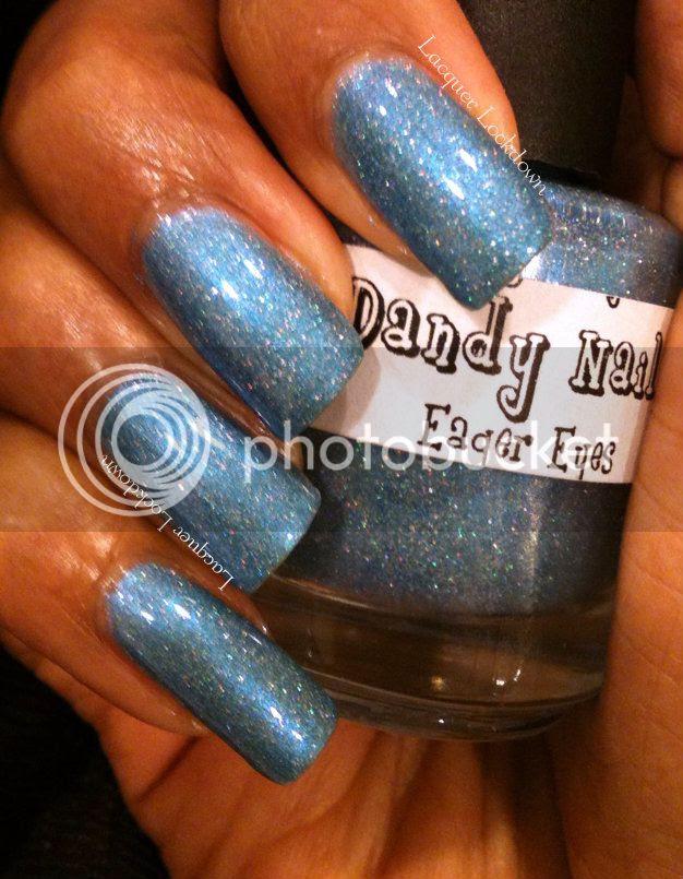 Lacquer Lockdown - Dandy Nails, Dandy Nails Eager Eyes, holographic polish, floral, dandelion nail art, freehand nail art, nail art, indie polish, easy nail art, Kiss Nail Art Striper