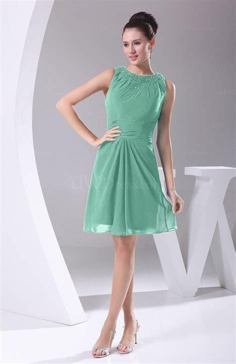 Mint Green Modest A line Bateau Sleeveless Chiffon Party