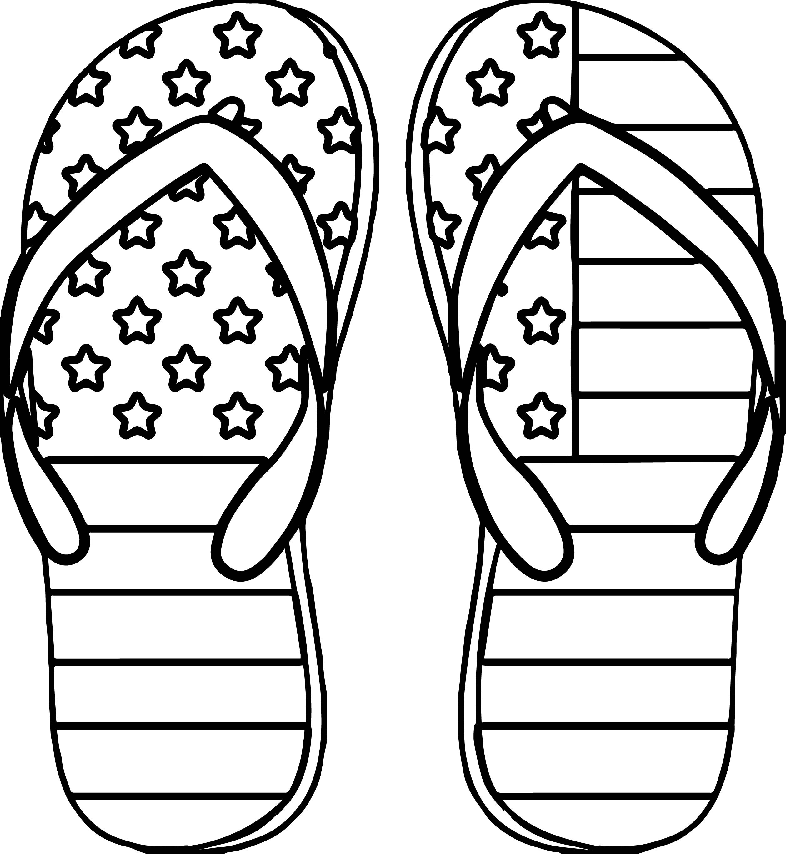 4th July Slipper Coloring Page | Wecoloringpage.com